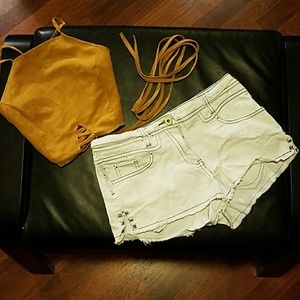 Clipped and studded sided booty shorts